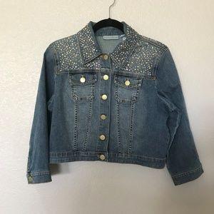 Chico's Platinum Denim Jacket; Vanity Size 1